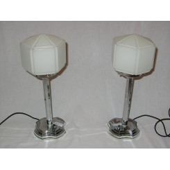 Pair Of English Chrome Art Deco Table Lamps