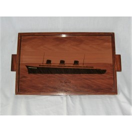 Art Deco painted glass & wood Tray Depicting The Steamship Normandie