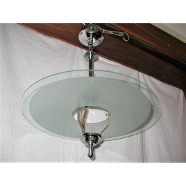 Modernist Saturn Ring Chrome And Glass Ceiling Light (Reserved)