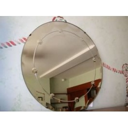Good english modernist round mirror in a stepped wooden frame