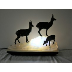 Art Deco spelter lamp of 3 Ibex on opalescent glass and marble base