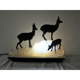 Art Deco spelter lamp by Fritz Diller of (3)  Chamois on opalescent glass and marble base