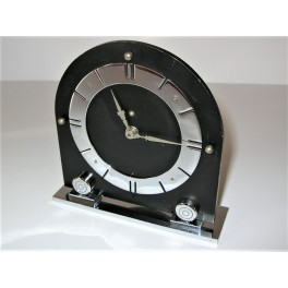Black Bakelite and chrome Art Deco table clock
