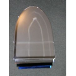 Superb bullet shaped mirror with blue & black glass stepped design