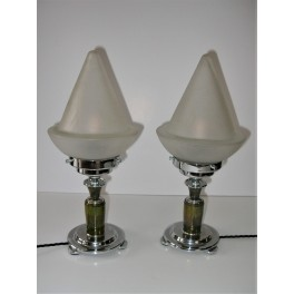Pair Of Green Bakelite And Chrome Table Lamps