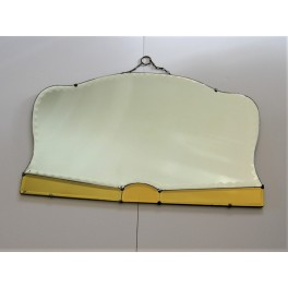 Art Deco Panorama Format Mirror With Yellow Mirrored Decoration