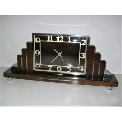 Art Deco Wood And Chrome Mantle Clock