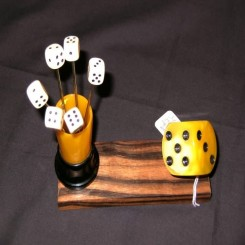 Very rare complete dice cocktail pick set mounted on maccassar wood with bakelite fixtures