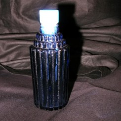 Je reviens stepped skyscraper design blue glass perfume bottle by Rene Lalique circa 1947
