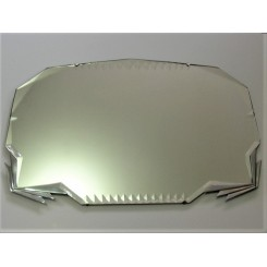 Panoramic Deco mirror with chromed geometric finned decoration