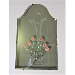 Wonderful Art Deco small portrait style mirror with applied glass flower and leaves decoration