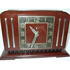 Oxblood red Bakelite Art Deco Jaz eight day clock