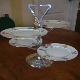 Mappin and webb  silver plated cake stand with royal doulton plates