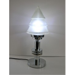 Modernist table lamp with stepped cone shade
