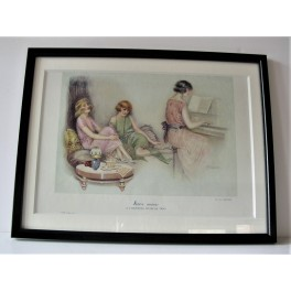 Suzanne Meunier Print of  (3) ladies with piano
