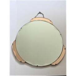 Super English Art Deco round mirror with salmon coloured side decoration