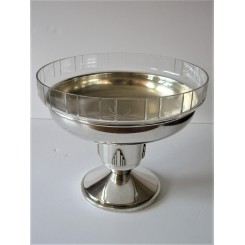 Silver Plate And Glass Art Deco Table Centre Piece
