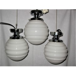 Set Of Three Art Deco White Globe Fixtures