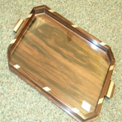 French wooden tray with nickle decoration