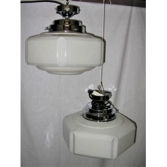 Pair Of White Hexagonal Close Fit Art Deco Fixtures