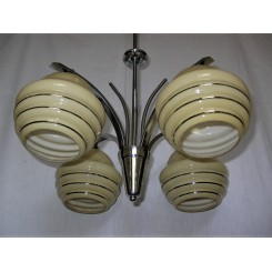 Art Deco Fixture With Yellow And Silver Lined Czech Shades