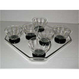 Art Deco Glass Tray And Matching Set Of 6 Glasses