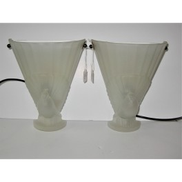 Pair Of Art Deco Glass Dove Wall Lights