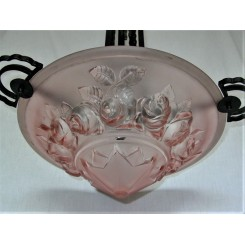 Continental Deco Painted Metal Fixture With Pink Geometric Floral Cone Shade