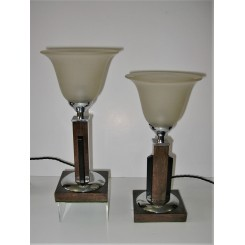 Pair Of Wood And Chrome Art Deco Table Lampswith Open Trumpet Shade