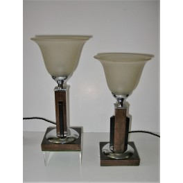 Pair Of Wood And Chrome Art Deco Table Lamps