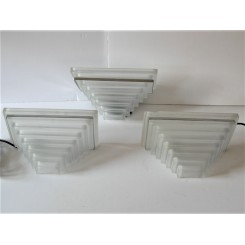 Set Of 3 Art Deco Stepped Frosted Glass Wall Lights