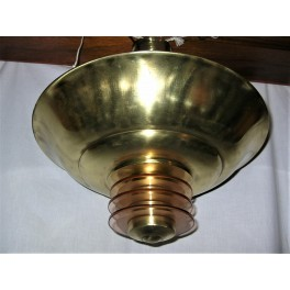Andre Petitot Brass And Glass Ring Ceiling Fixture