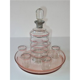Schnapps set on glass tray with decanter and 6 shot glasses