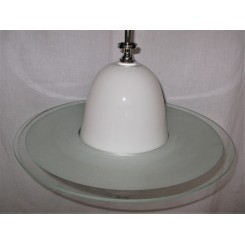 White bell downlighter shade fixture with frosted glass Saturn ring
