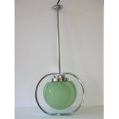 unusual Art Deco chrome centre pole fixture with green shade