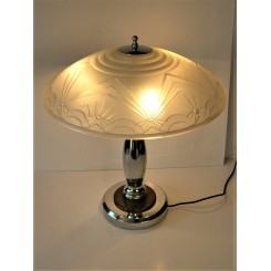 Heavy Art Deco table lamp with frosted glass geometric shade
