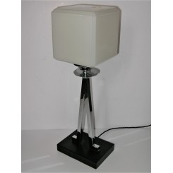 Modernist inverted V chrome and Bakelite table lamp