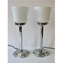 Pair of chrome stepped shield base Deco table lamps