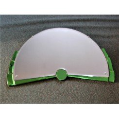 demi-lune shaped Art Deco mirror green and clear