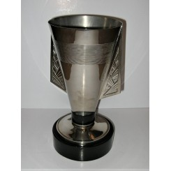 Rare Art Deco Geometric Metal Vase