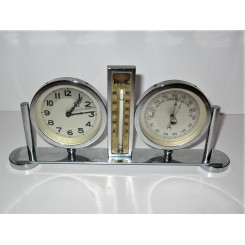 Chrome Weather Station Barometer Thermometer And Clock