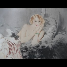French lithograph of a reclining lady by suzanne meunier