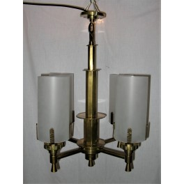Art Deco Four Branch Brass Fixture With Frosted Tube Shades