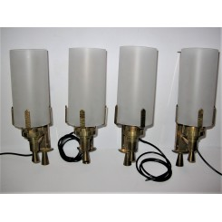 Four Art Deco Brass Wall Lights With Frosted Tube Shades