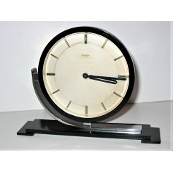 Art Deco chrome and black Keinzle table clock