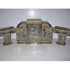 Art Deco Marbled Pottery Clock Garniture Set By Odyv