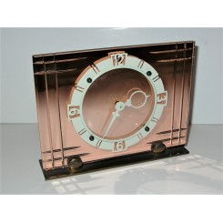 Art Deco 8 Day Glass And Chrome Table Clock