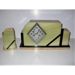 8 Day Marble And Green Onyx Clock Set By Marti