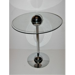 Atomic style Modernist glass & chrome table