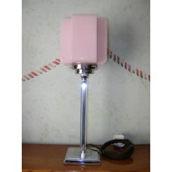 Excellent english modernist square based table lamp with wonderful pink cross shade